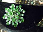 Vintage Coro peridot green snowflake starburst pin