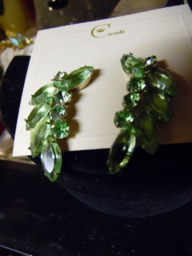 Vintage peridot green rhinestone clip earrings  by Carol California