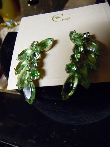 Vintage peridot green rhinestone clip earrings  by Carol California