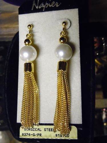 Napier gold tone pearl and tassel pierced earrings mint on card