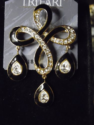 Vintage Trifari black enamel and rhinestone pin
