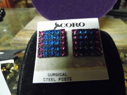 Vintage Coro  square Red and blue rhinestone post back earrings