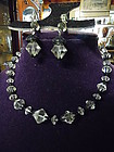 Vintage Laguna crystal beads necklace and clip earrings