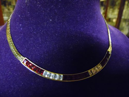 Vintage Givenchy gleaming gold tone choker necklace red rhinestones