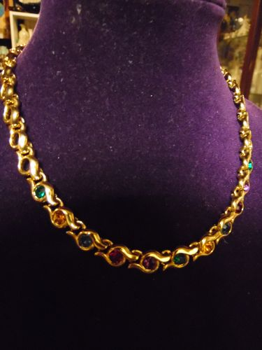 Vintage Napier gold tone link necklace with multi color stones