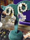 Vintage 3-d large rhinestone earrings clip backings