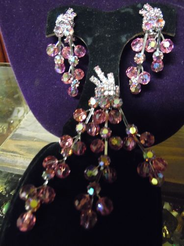 Lg Vintage pink aurora borealis beaded pin and clip earrings Stunning