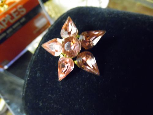 Vintage Coro pink rhinestone star flower pin