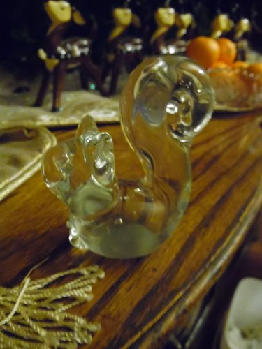 Hand blown crystal squirrel paperweight