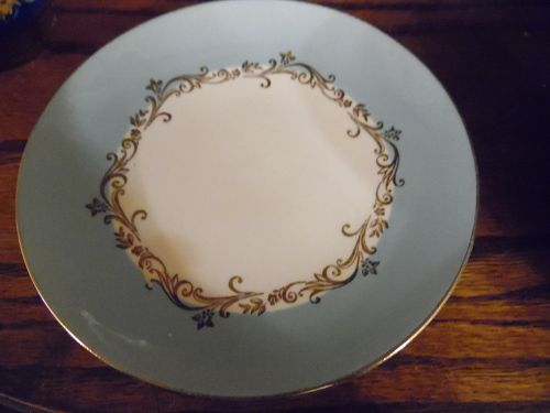 Vintage Gold Crown bread and butter plate by Lifetime China aqua