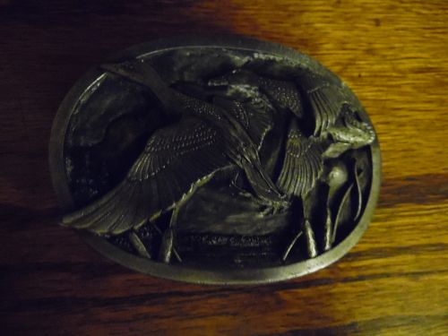 Siskiyou  Pewter belt buckle Wild mallards vintage 1983