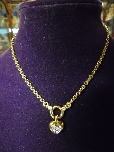 1980'S AFJ AMERICAN FASHION JEWELRY gold tone heart necklace.