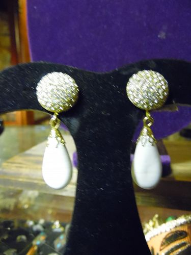Vintage Weiss clip white drop earring with encrusted rhinestones