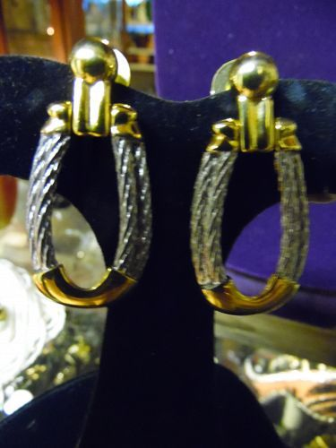 AFJ Vintage braided loop post earrings mixed silver and gold tone