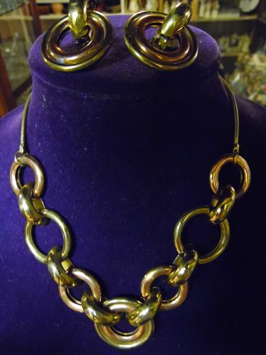 Vintage Mod chunky copper gold tone circle links necklace n earrings