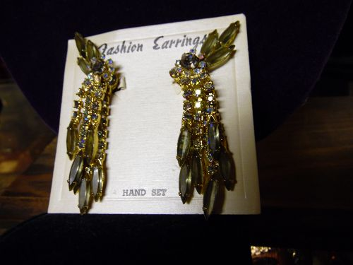 Vintage runway  smoky aurora rhinestone clip earrings