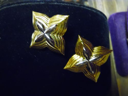 Vintage Monet post/ clip back earrings gold tone silver tone mix