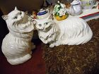 Very Large pair  white persian  ceramic cats life size