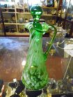 Green and white spatter glass cruet