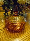 Indiana Glass amber gold Princess covered candy dish