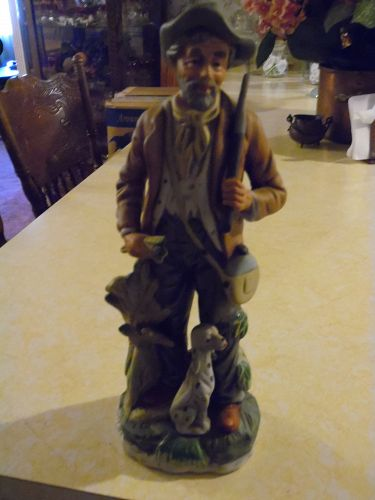 "Vintage Norleans farmer and dog 12.5"" bisque porcelain figurine"