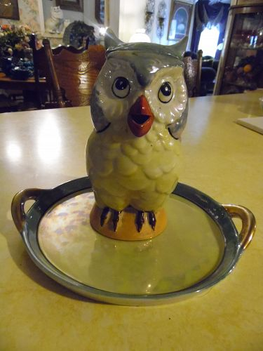 Vintage TT Japan Lustreware owl decanter and tray