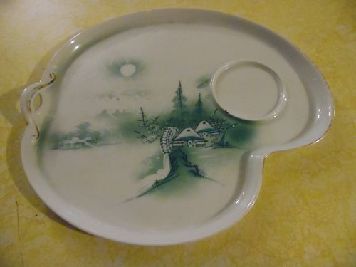 Vintage Hayasi Kutani Japan snack tray green scenic