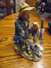 Large vintage Norleans hunter and his dog figurine