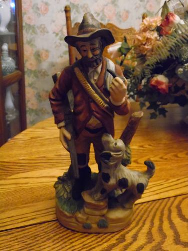 Large Vintage hunter and dog figurine bisque porcelain