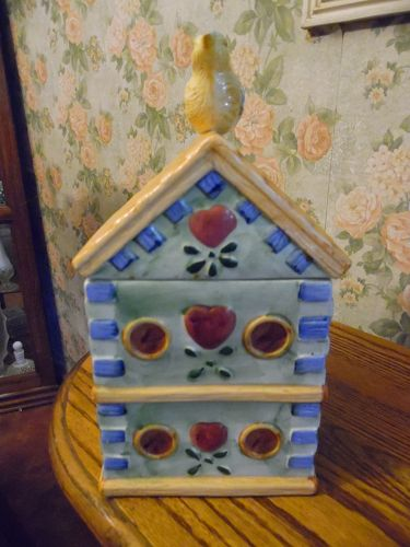 Bluebird  birdhouse cookie jar ceramic by Alco