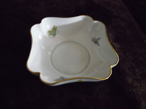 Vignaud Limoges France Square scallop bowl with butterflies
