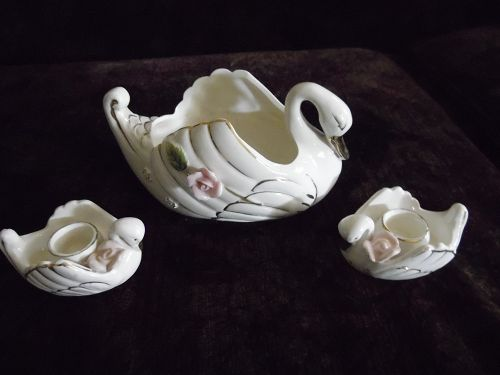 Vintage Artmark Japan 3 pc swan vase and candle holders
