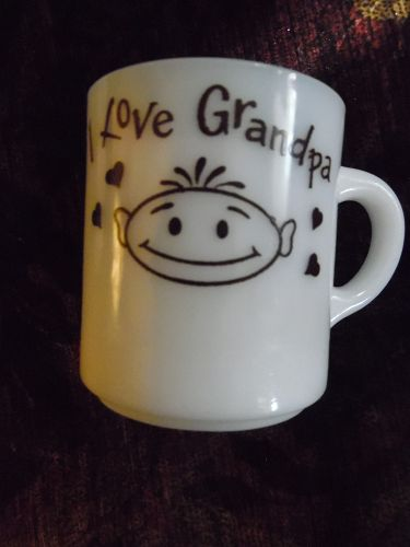 Vintage 1960's milk glass mug I Love Gandpa