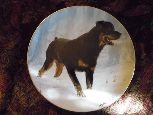 Danbury Mint collector Plate Rottweilers by John Silver Winter Walk