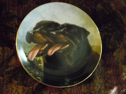 Danbury Mint collector plate Dynamic Duo from Rottweillers series