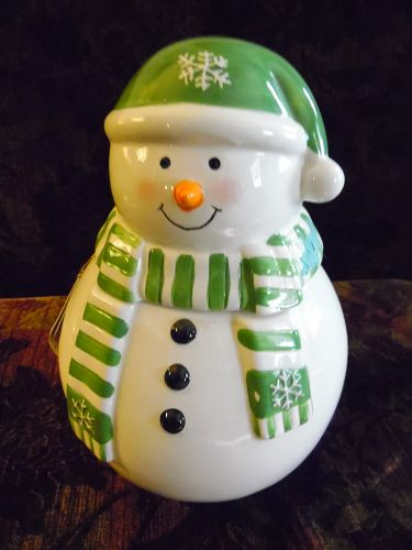 CIB ceramic snowman cookie jar with green stripe scarf and hat