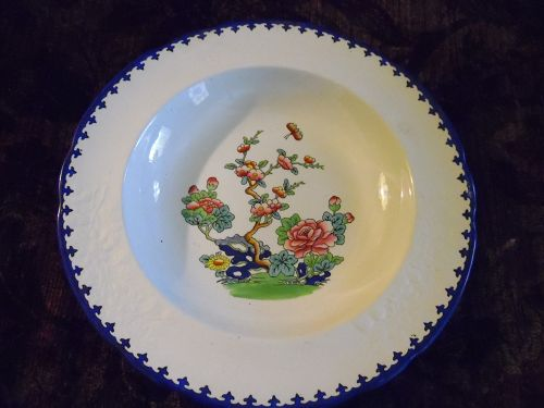 Copeland Spode 10 3/8 bowl Chinese rose  Jan 1913