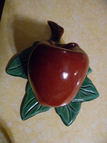 Vintage red apple ceramic wall pocket