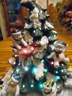 Adorable Home Interiors lighted ceramic Christmas tree with snowmen