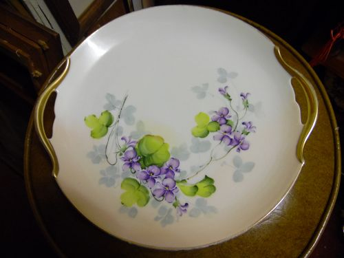 Hand painted Vienna Austria tabbed cake plate with violets