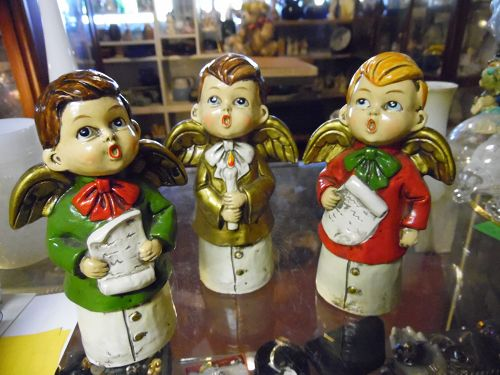 Three vintage Angel  choir boy Christmas carolers  figurines