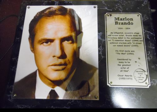 Marlon Brando Commemorative photo walk of fame plaque