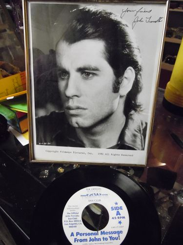 1981 John Travolta 8X10  signed picture and fan club 45 rpm record