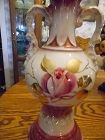 Antique hand painted rose design porcelain lamp base