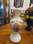 Vintage ceramic table lamp with rose decoration works