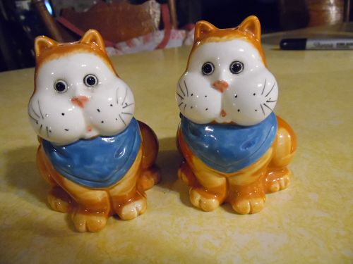 Fat cheeks kitty cat salt and pepper shakers blue bibs