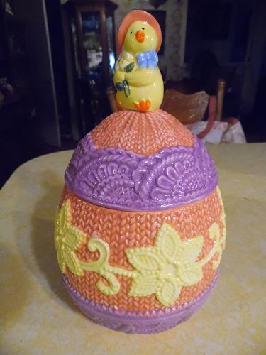 Cute ceramic Easter egg cookie jar with little chick
