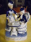 Blue and white Victorian ladies having tea porcelain lamp base figurin