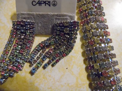 Multi pastel rhinestone bracelet with cascade pierced earrings