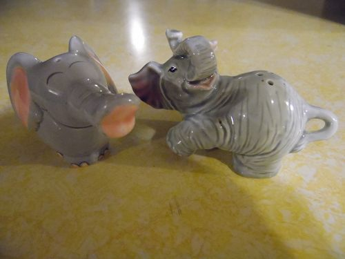 Funny elephant ceramic salt and pepper shakers